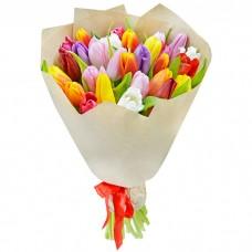 Букет Тюльпаны в крафте 29 шт